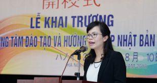 """Bà Đỗ Phương Thùy, chủ tịch HĐQT nhấn mạnh lại sứ mệnh """"Phát triển nhân lực Việt"""" trong lễ khai trương"""